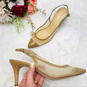 KATE SPADE Nude Mesh Slingback Pump Heel Size 10